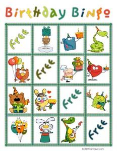 Birthday Bingo Card 1