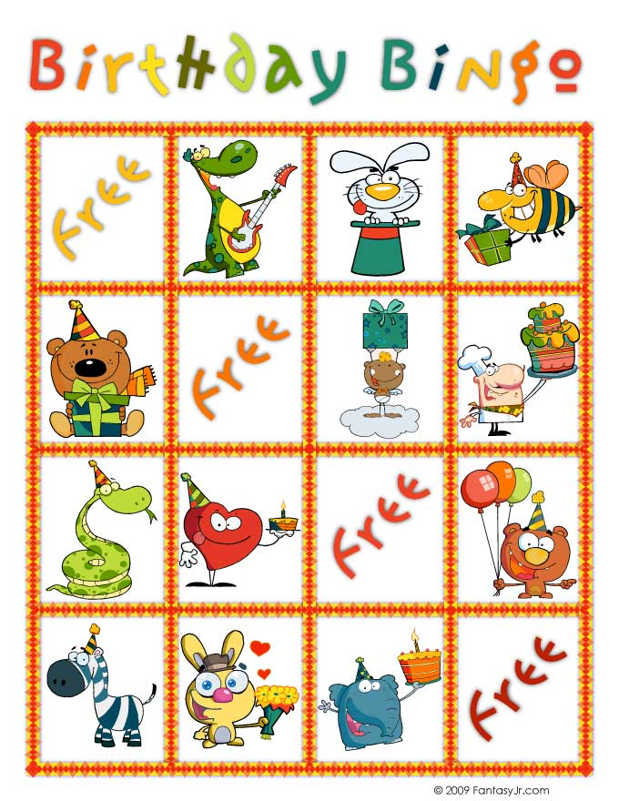 graphic about Printable Bingo Cards for Kids identified as Birthday Bingo Totally free Printable