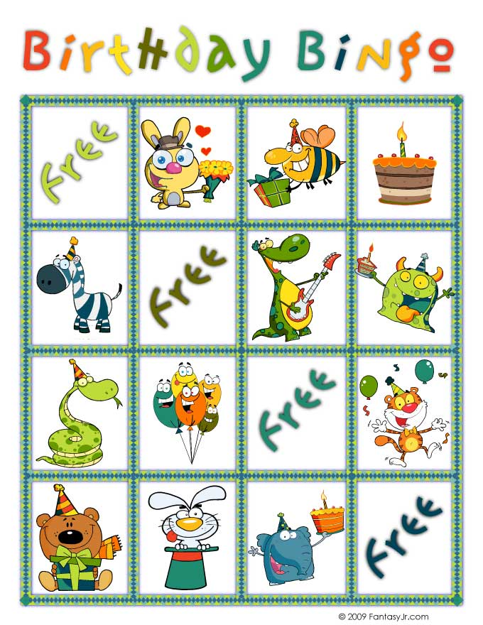 Birthday Bingo Card 4 Woo Jr Kids Activities