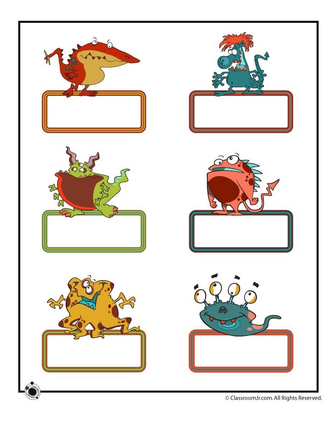 Kindergarten Classroom Decoration Printables : Printable bulletin board name cards small cute monsters
