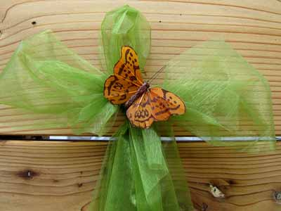 Fall Wreath Bow with Feather Butterfly Decoration
