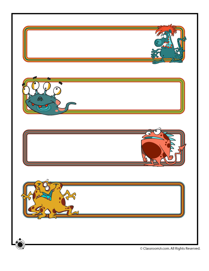 image relating to Printable Name Plates titled Printable Standing Plates - Lovable Monsters Woo! Jr. Little ones Functions