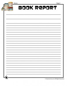 Blank Book Report Writing Page