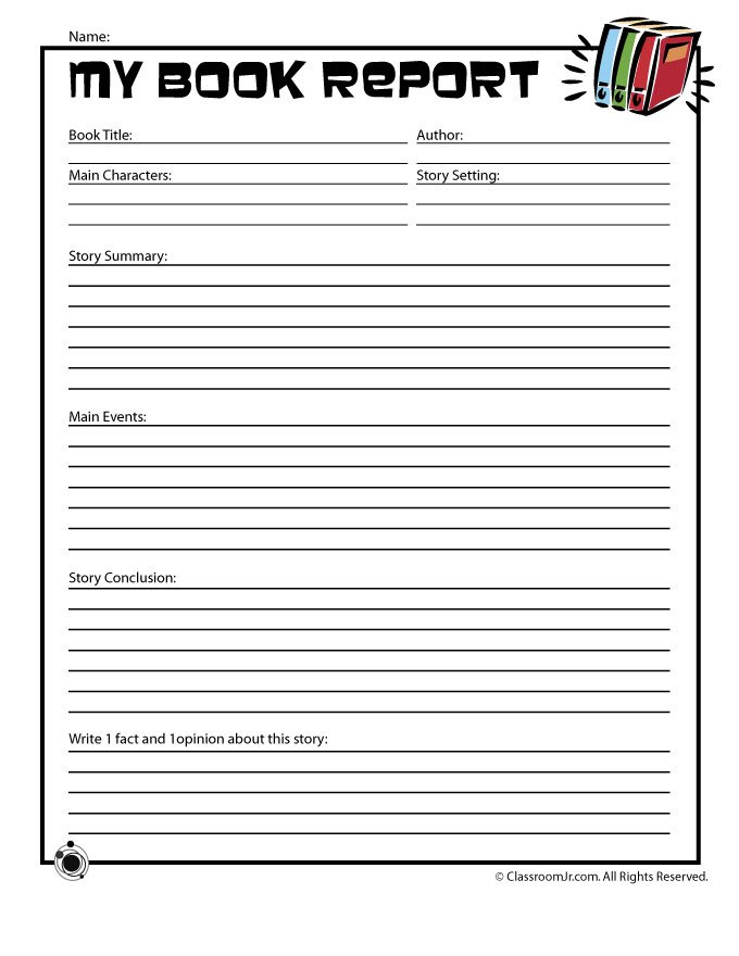 valentine's day reading comprehension worksheets 1st grade - Easy Book Report Form for Young Readers Woo Jr Kids