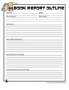 Book Report Outline Form for Older Readers