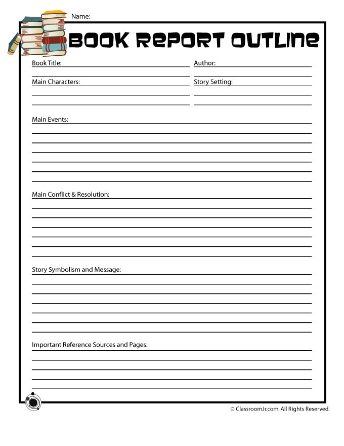 Book Report Outline Form For Older Readers  Woo Jr Kids Activities