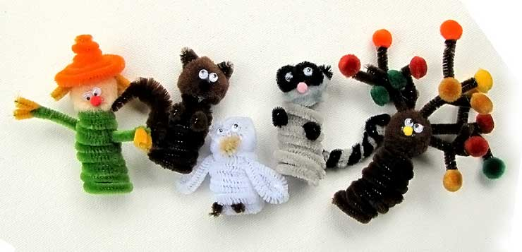 Fall Kids Crafts - Pipe Cleaner Finger Puppets