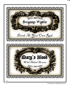 Large Halloween Bottle Labels