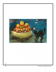 Black Cat Scaring Pumpkins Vintage Halloween Postcard