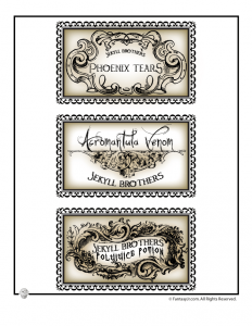 Harry Potter Potions Lab Labels