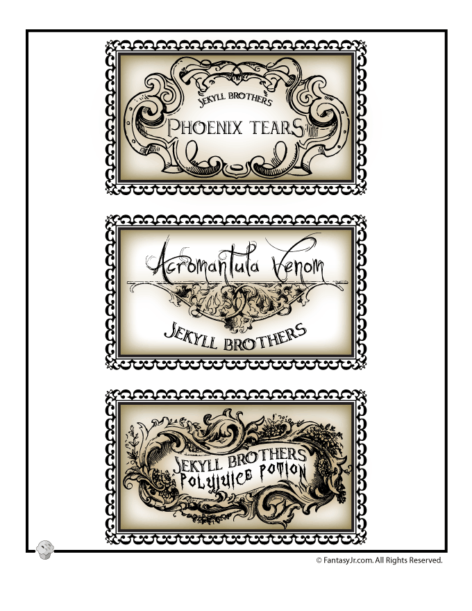picture regarding Harry Potter Activities Printable titled Harry Potter Potions Lab Labels Woo! Jr. Small children Functions