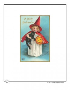 Cute Cat and Witch Vintage Halloween Postcard