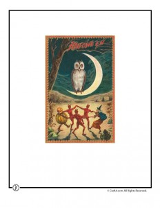 Old Fashioned Owl and Monsters Vintage Halloween Postcard