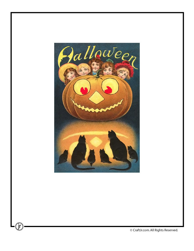 graphic relating to Printable Halloween Card named Typical Halloween Postcards