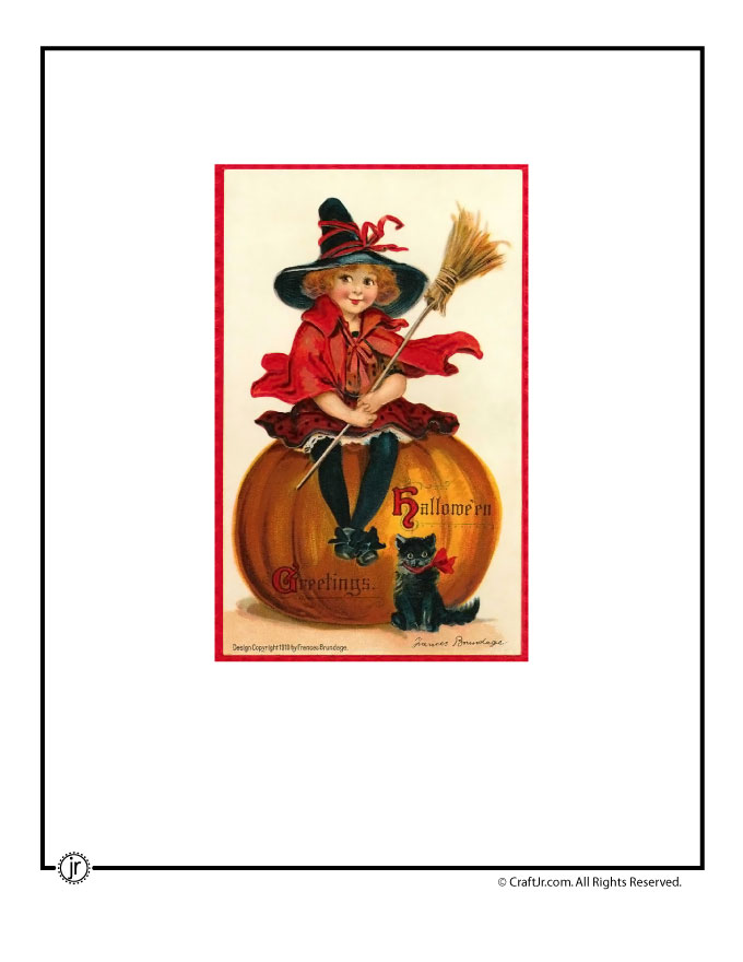 photograph about Vintage Halloween Printable known as Adorable Witch Woman Common Halloween Postcard Woo! Jr. Small children