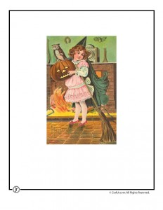 Trick or Treat Girl Vintage Halloween Postcard