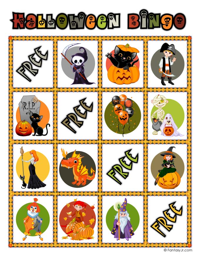 graphic relating to Halloween Bingo Printable named Halloween Bingo Card 12 Woo! Jr. Small children Functions