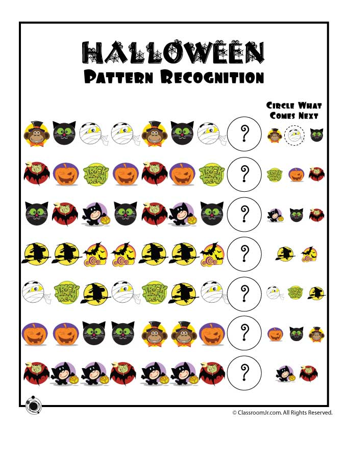 Halloween Pattern Recognition Worksheet Woo Jr Kids Activities – Halloween Worksheets Printables