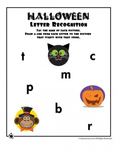 Halloween Letter Sound Recognition Worksheet