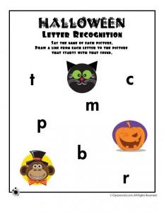 Halloween Letter Sound Recognition Worksheet