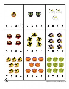 Halloween Number Recognition / Counting Worksheet