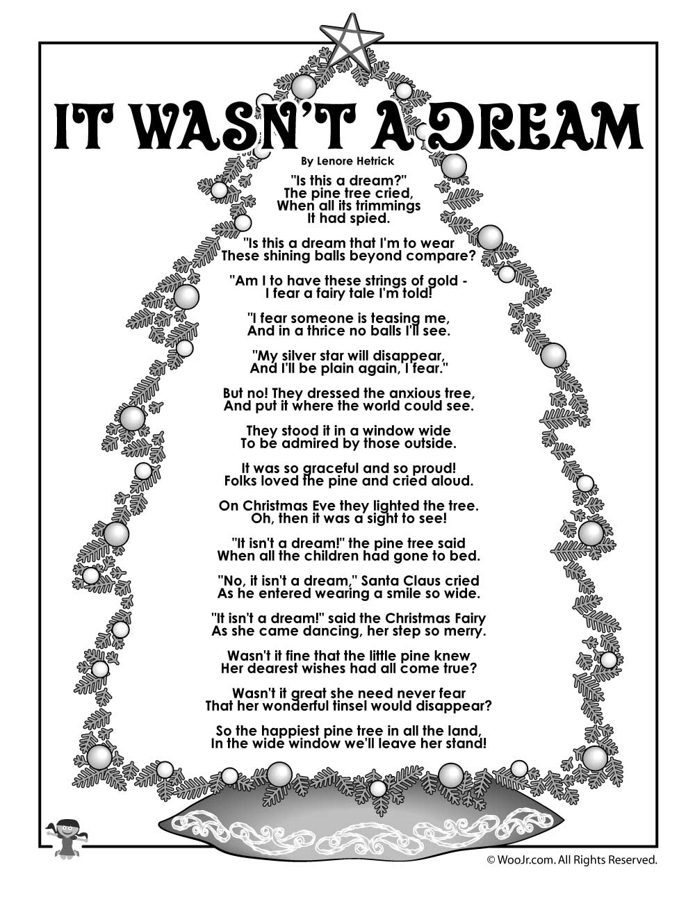 it wasnt a dream christmas tree poem for kids woo jr kids activities
