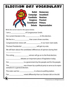Election Day Vocabulary Worksheet