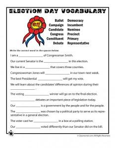 Election Day Vocabulary Worksheet