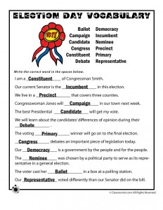 Election Day Vocabulary Worksheet Answer Key