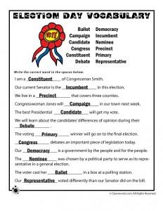Election Day Vocabulary Worksheet Answer Key