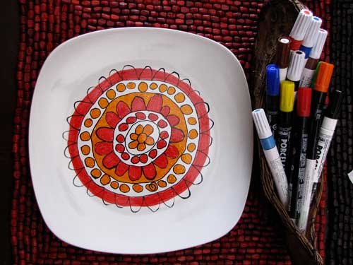Kids Modern Art Plates Closeup and Materials