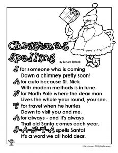S-A-N-T-A Spelling Poem for Children
