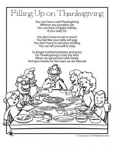 Thanksgiving Kids Poems - Filling Up on Thanksgiving