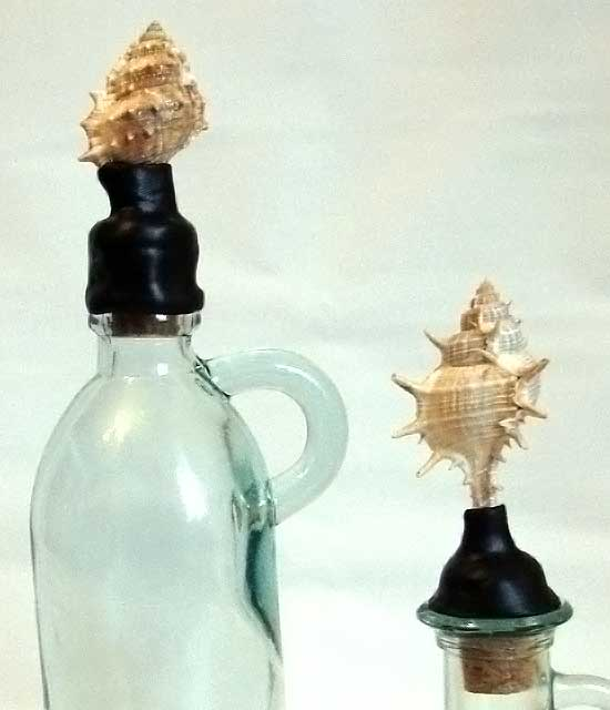 Closeup of Shell Bottle Toppers