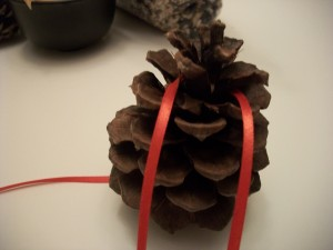 Move a couple of layers from the top of the pine cone and tie the ribbon around tightly.