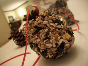 The seeds stick to the peanut butter to cover your pine cone.