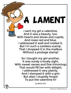 A Lament Funny Valentine's Day Kids Poem