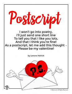 Postscript Short Valentine's Day Poem for Kids