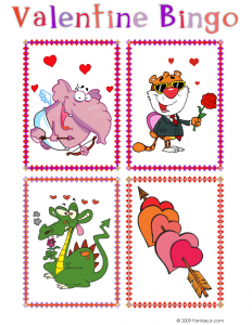Valentine Bingo Calling Cards: Elephant Cupid, Hearts & Arrows, Lovestruck Dragon and Cool Tiger