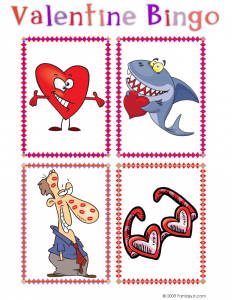 Valentine Bingo Calling Cards: Cartoon Heart, Shark with a Valentine, Kissed Guy, and Heart Shaped Sunglasses