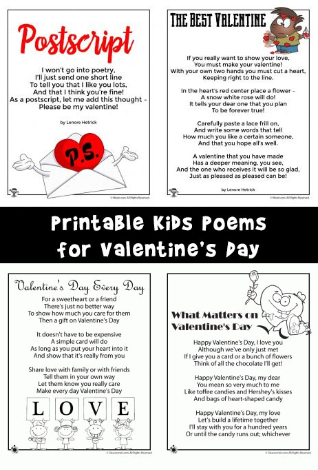 6 Printable Kids Poems for Valentine's Day