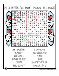 Valentine Word Search Answer Key