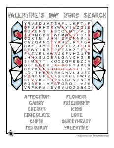 Valentine Word Search Answer Key