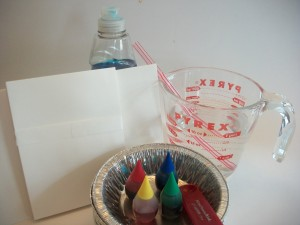 Supplies for bubble painting.