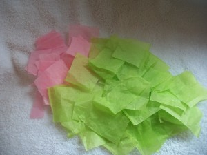 Cut your tissue paper into small pieces (about an inch or so).  We recycled tissue from presents we've received.