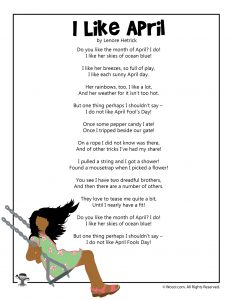 I Like April (But Not April Fool's Day) Kids Poem