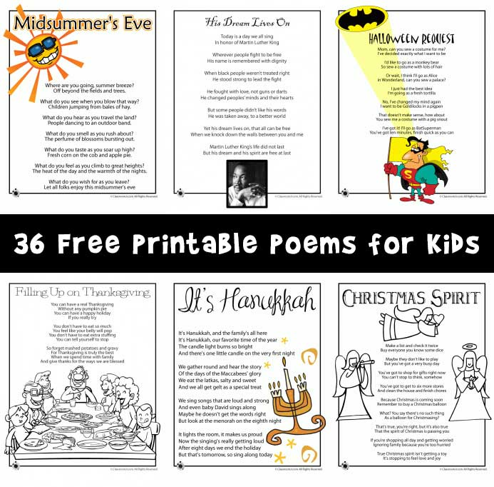36 Free Printable Poems for Kids