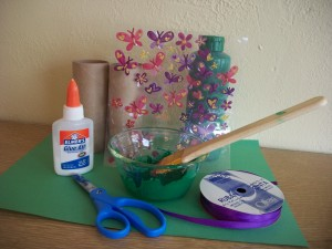Craft supplies for play binoculars.