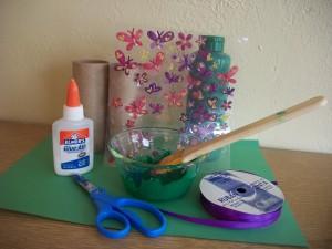 Craft supplies for play binoculars.