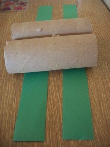 Cut two strips of construction paper long enough to go around both tubes.